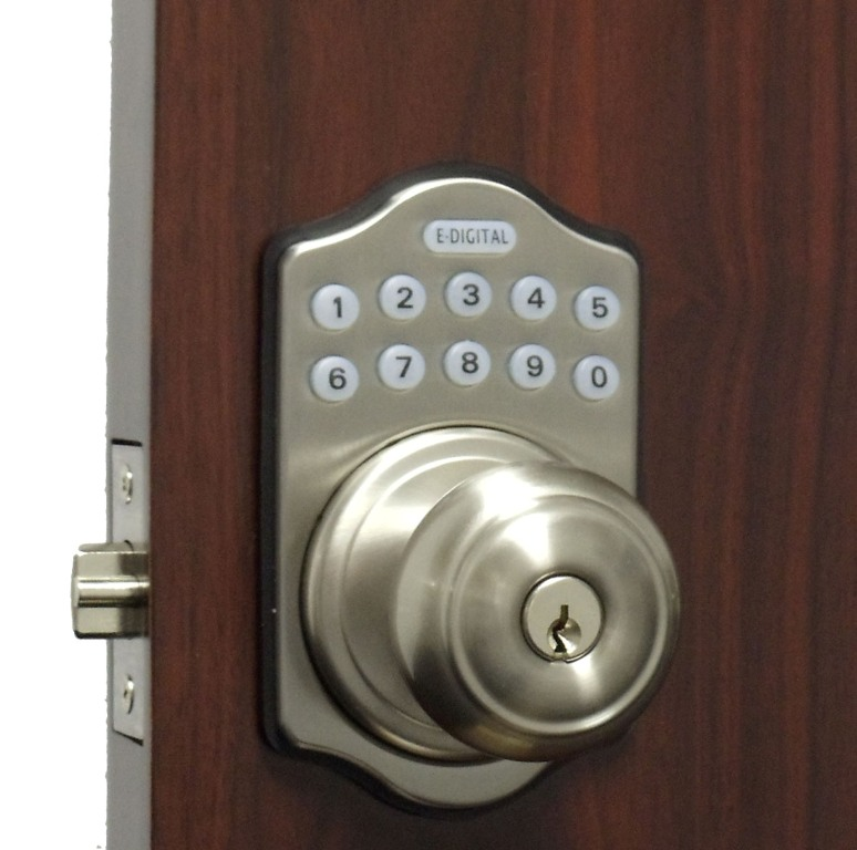 lockey e930r digital keyless electronic knob door lock with remote. Black Bedroom Furniture Sets. Home Design Ideas