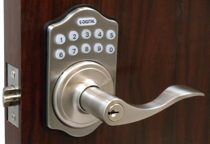 Lockey E-985 Satin Nickel Outside & Lockey E985 Digital Keyless Electronic Lever Door Lock