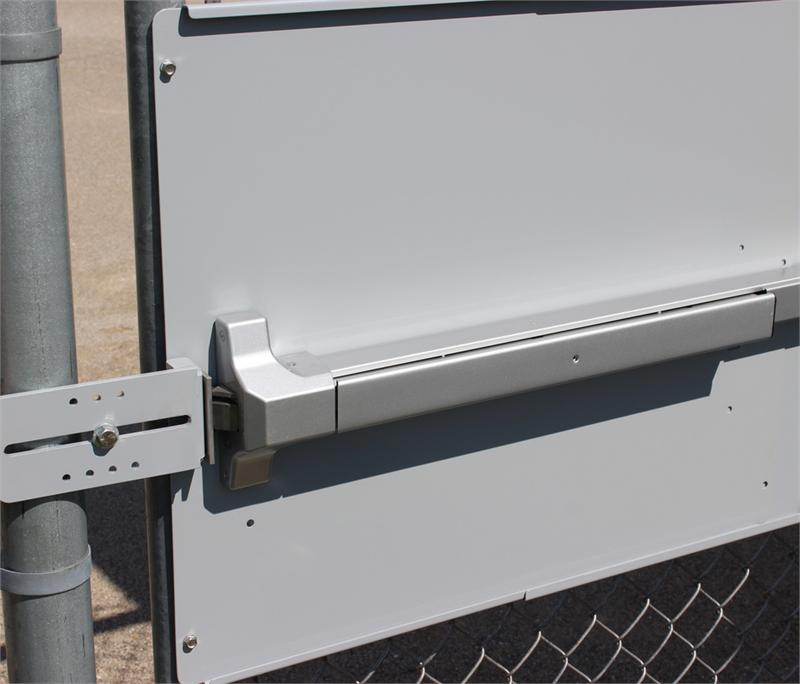 Panic Bar Mounting Plate For Chain Link Fence Gates, Panic Shield For Lockey Panic Bars