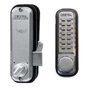 Lockey 2500-JB Mechanical Keyless Hook Bolt Sliding Door Lock Jet Black